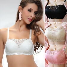 Women Sexy Padded Push Up Bra Lace Floral Underwear Wirefree Full Cup Crop Top