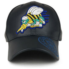 US Navy Seabees 3D Embroidered PU Leather Military Baseball Cap(FREESHIP)
