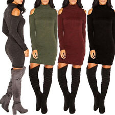Women Sexy Bodycon Knitting Off Shoulder Long Sleeve Party Slim Dress Reliable