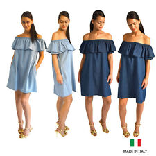 Ladies Chambray Denim Look Off The Shoulder Aline Mini Dress With Side Pockets