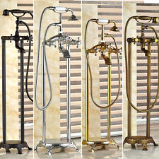 Bathtub Faucet Free standing Clawfoot Tub Mixer Dual Knobs taps Spout Handheld