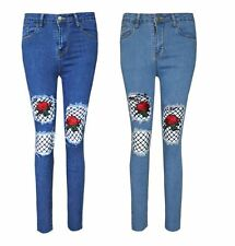 Womens Ladies Denim Skinny Jeans Rose Embroidered Ripped Front Trouser