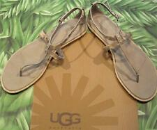 UGG NEW Box Sandals Sand KENNARIA Snake Leather Flat Strappy Women 8.5
