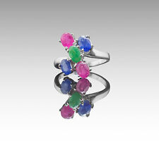 925 Sterling Silver Ring with Oval Blue Sapphire, Emerald & Ruby Gemstone.