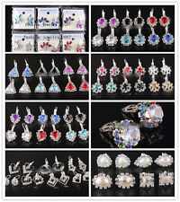 Wholesale 6pairs Women Bling Ball Silver P Stud Earring Cubic Zirconia Crystal