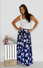 Womens Ladies Georgia skirt in navy soft crepe style fabric floral design but...