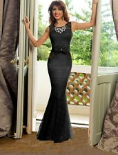 suzanjas Evening Dress with Rhinestone Necklace and Lace, Black, Size M