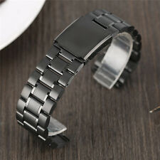 22mm Black/Silver Solid Stainless Steel Band Wrist Watch Bracelet Replacement