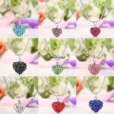 New 1PC Women Charming Heart Pendant Necklace Link Chain Resin Rhinestone GDY701