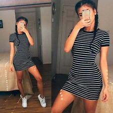 Casual Women Short Dress Cocktail Party Evening Bodycon Striped Mini Skirt Dress