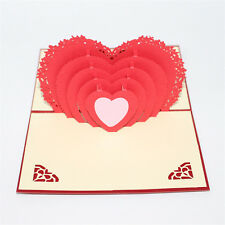 Greeting Card Handmade 3D Gift Paper Carving Love Heart Sweet Valentine's Day