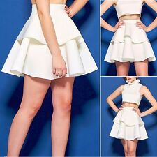 Women Solid Color High Waisted Skater Full Circle Pleated A-Line Midi Skirt BGO
