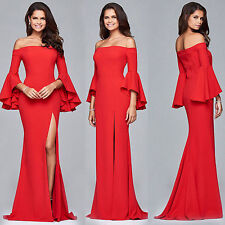 Womens Trumpet Sleeves Evening Party Formal Bridesmaid Prom Ball Gown Long Dress