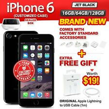New & Sealed Factory Unlocked APPLE iPhone 6 16 64 128GB Jet Black 1 Yr Warranty