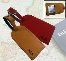 Personalised Leather Luggage Tags Travel Initials Engraved Name Address Inside