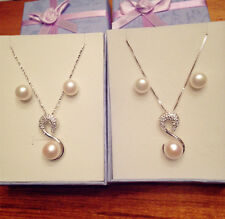 Genuine Freshwater Pearl Necklace and Earring Set 925 Silver swan pendant