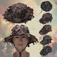Adjustable 3D Tactics Camouflage Leaf Hat Clothing Hunting Camo Boonie Hat Cap