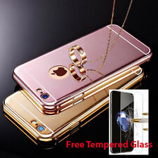 Luxury Aluminum Ultra thin Mirror Metal Case iPhone 6 7 Plus + Tempered Glass