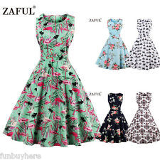 Womens Vintage Style Floral Rockabilly 50'S 60'S Swing Rock Cocktail Party Dress