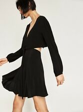NWT ZARA CUT-OUT DRESS TIE KNOT Size XS S BLACK BLOGGERS REF. 2731/259