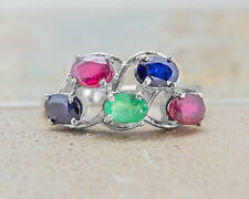925 Sterling Silver Ring with Multicolor Blue Sapphire Emerald & Ruby Gemstone