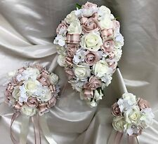 Wedding Flowers Blush Pink Rose crystal Bouquets Bride, Bridesmaid, Flowergirl
