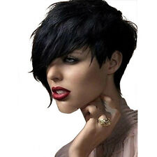 Afro AmericaFashion Short Straight Wig with Long Side Fringe for Black Women Wig