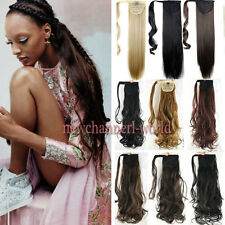 US 100% Natural Long Clip In Hair Extension Pony Tail Wrap Around Ponytail Brown