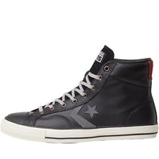 NEW Converse Star Player Hi LEATHER Trainers Black/Charcoal/Maroon 7.5-8.5 UK