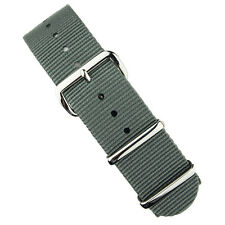 B & R Bands Gray Premium Nylon Military Style Watch Strap Band 18mm 20mm 22mm