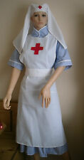 Nurse costume vintage style WW2 40s  apron and veil with red cross sewn in WW1