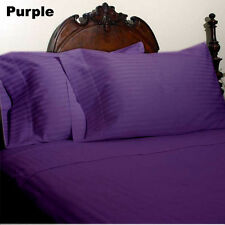DUVET/FITTED/FLAT/PILLOW 1000 TC EGYPTIAN COTTON ALL SIZE PURPLE STRIPED