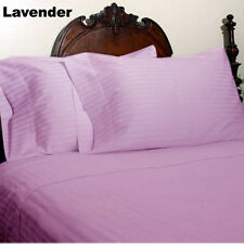 DUVET/FITTED/FLAT/PILLOW 1000 TC EGYPTIAN COTTON ALL SIZE LAVENDER-STRIPED