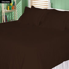 1000TC/1200TC 100%EGYPTIAN COTTON US SIZES ALL BEDDING ITEMS CHOCOLATE STRIPED