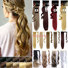 Long Real Wavy Straight Clip in Ponytail Pony tail Hair Extension Fake hairpiece