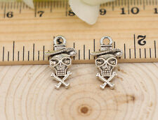 lot 50pcs Tibet Silver two-sided skull jewelry finding Charm Pendant 18x10mm