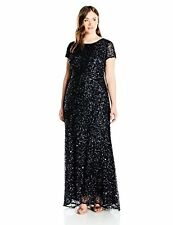 Adrianna Papell Women's Plus-SZ Scoop-Back Long Beaded Gown - Choose SZ/Color