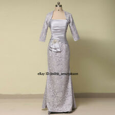 Gray Mother of the Bride Dresses Long Satin Lace Wedding Party Dress With Jacket