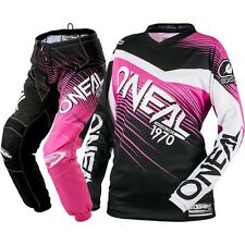 NEW Oneal 2018 Youth MX Element Black Pink Jersey Pants Girls Motocross Gear Set