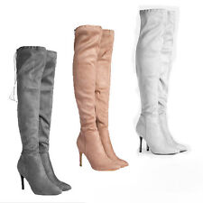 WOMENS LADIES STRETCH OVER THE KNEE HIGH HEEL LACE THIGH BOOTS SHOES SIZE 2-7