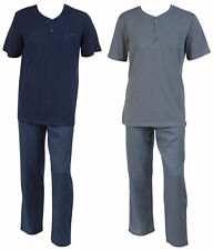 Pyjamas Set Mens Jersey Cotton Top & Striped Bottoms Walker Reid Nightwear PJs