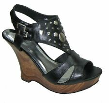 Bamboo strappy platform 4.5 inch wedge high heel decorated sandals black