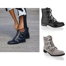 New Womens Ladies Vintage Studded Biker Cowboy Ankle Boots Black Shoes Size 3-8