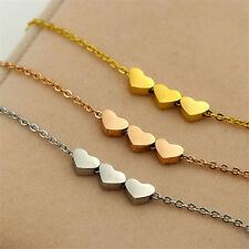 Fashion Three Heart Pendant 1Pcs Charms Jewelry Necklace Stainless steel Women