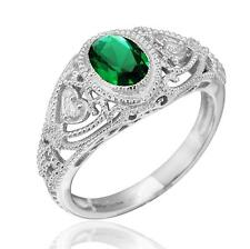 Art Deco Vintage Inspired Oval Created Emerald Filigree Ring Sterling Silver