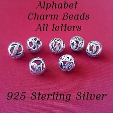 Alphabet Charm Beads 925 Sterling Silver Initials Letters Bracelet Bead Charms