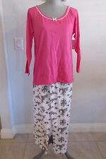 NWT JESSICA SIMPSON COTTON PINK & CREAM W/ GREY BUTTERFLY DESIGN 2 PC PAJAMA SET