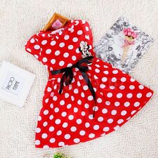 For 1~6Y Baby Girls Kids Cotton Red Disney Mickey Minnie Mouse Bowknot Dress