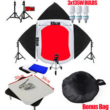80CM Cube Light Tent Photography Studio +3 Softbox Lighting Backdrops Stand Kit