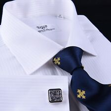 Classic White Twill Striped Formal Business Dress Shirt Sexy French Double Cuffs